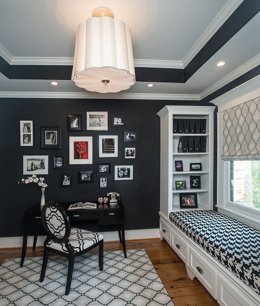 Black and white office area with window seating