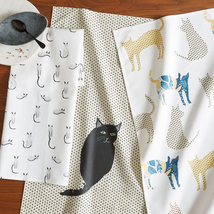 Black cat dish towel