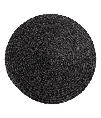Black woven placemats