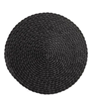 Black woven placemats