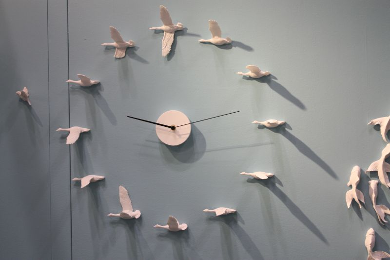 Ceramic wall birds clock