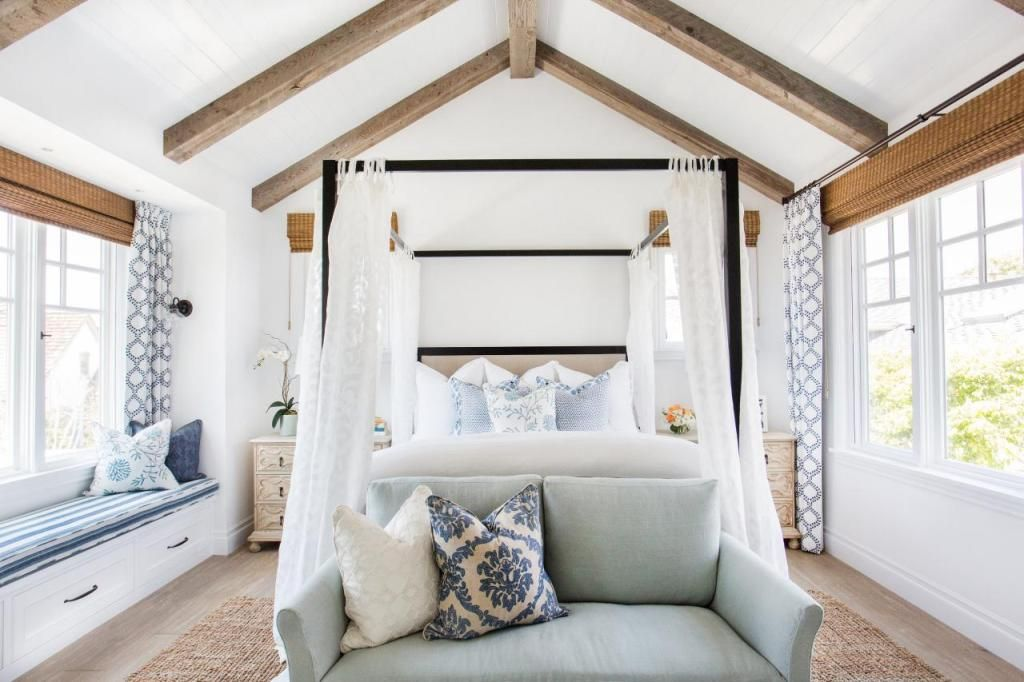 Bon Chic Vaulted Master Bedroom With Wood Beams
