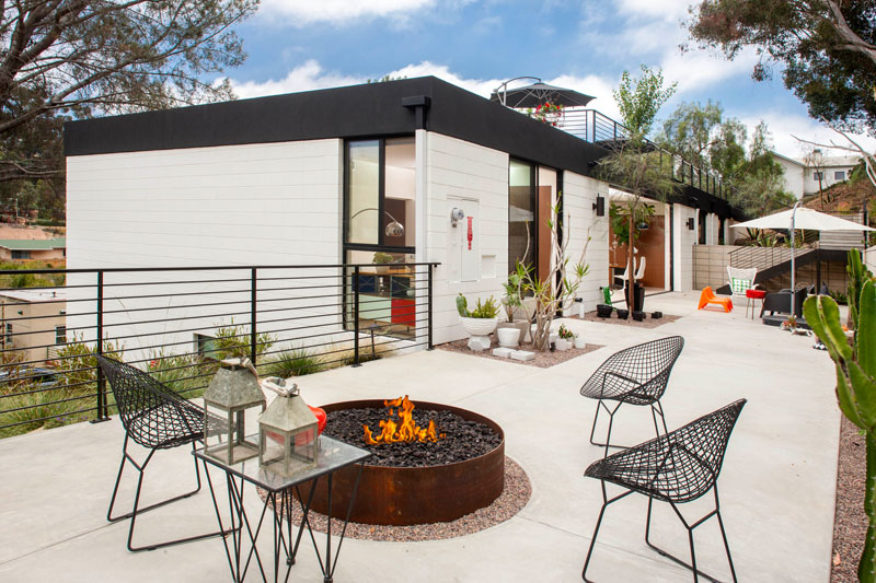 Clea House courtyard fire pit