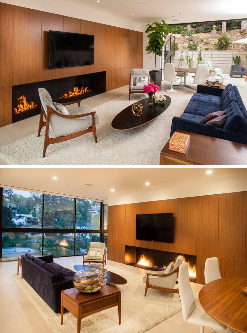 Clea House living room fireplace