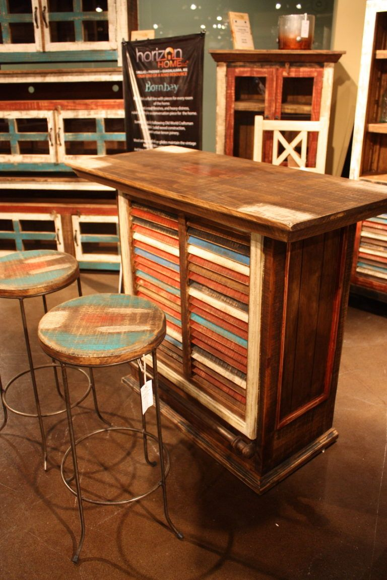 Colored washed bar stools