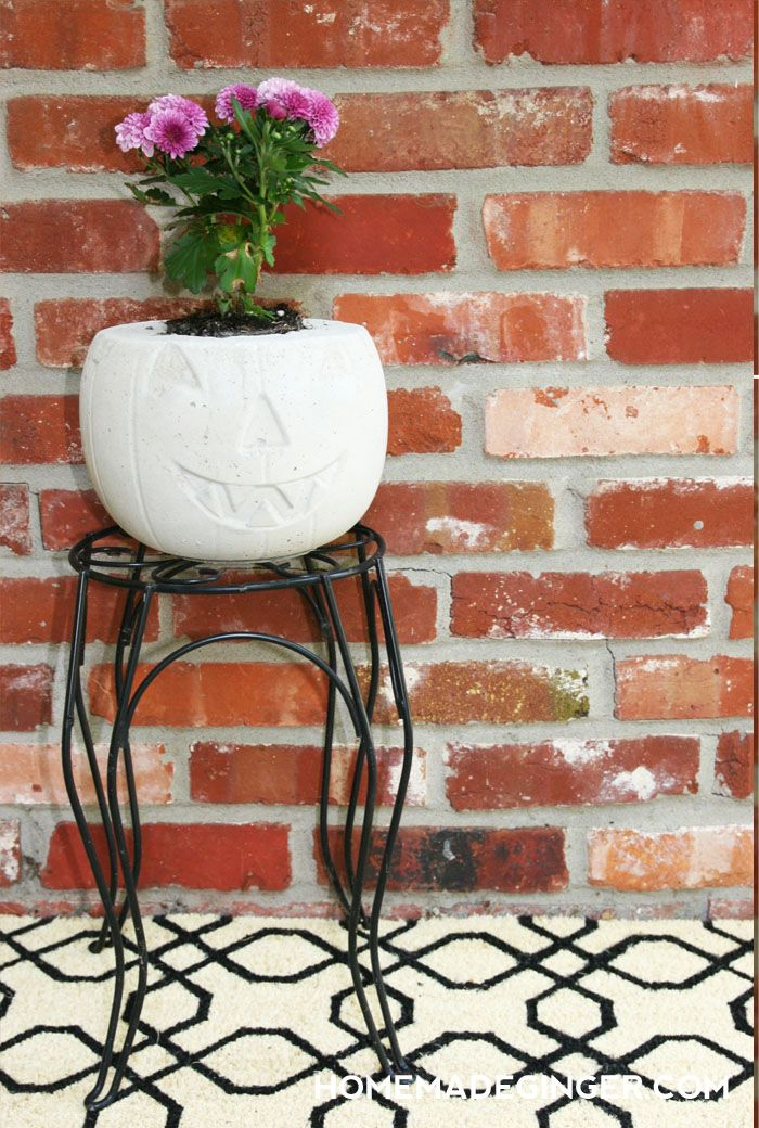 Concrete pumpkin planter