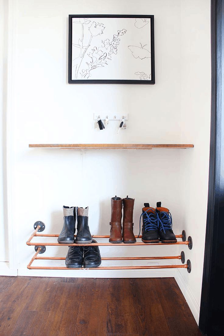 Lovely Copper Pipe Shoe Storage