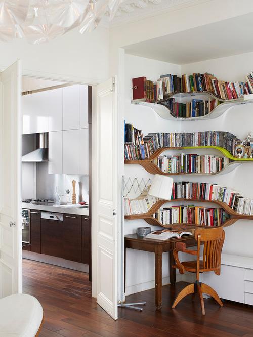 Corner desk area - beautiful curved shelves