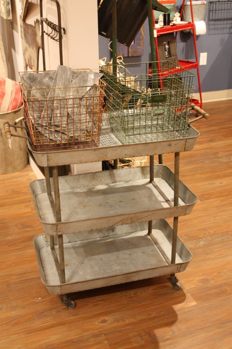 Creative coop galvanized Trolley