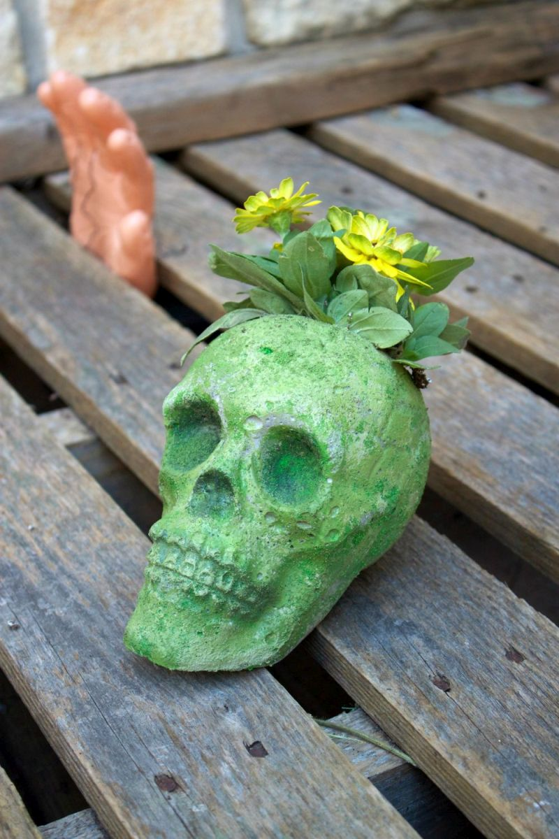 DIY Cement Skull Planter