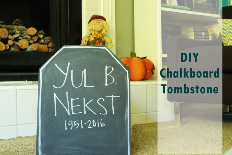 DIY Halloween Chalkboard Tombstone
