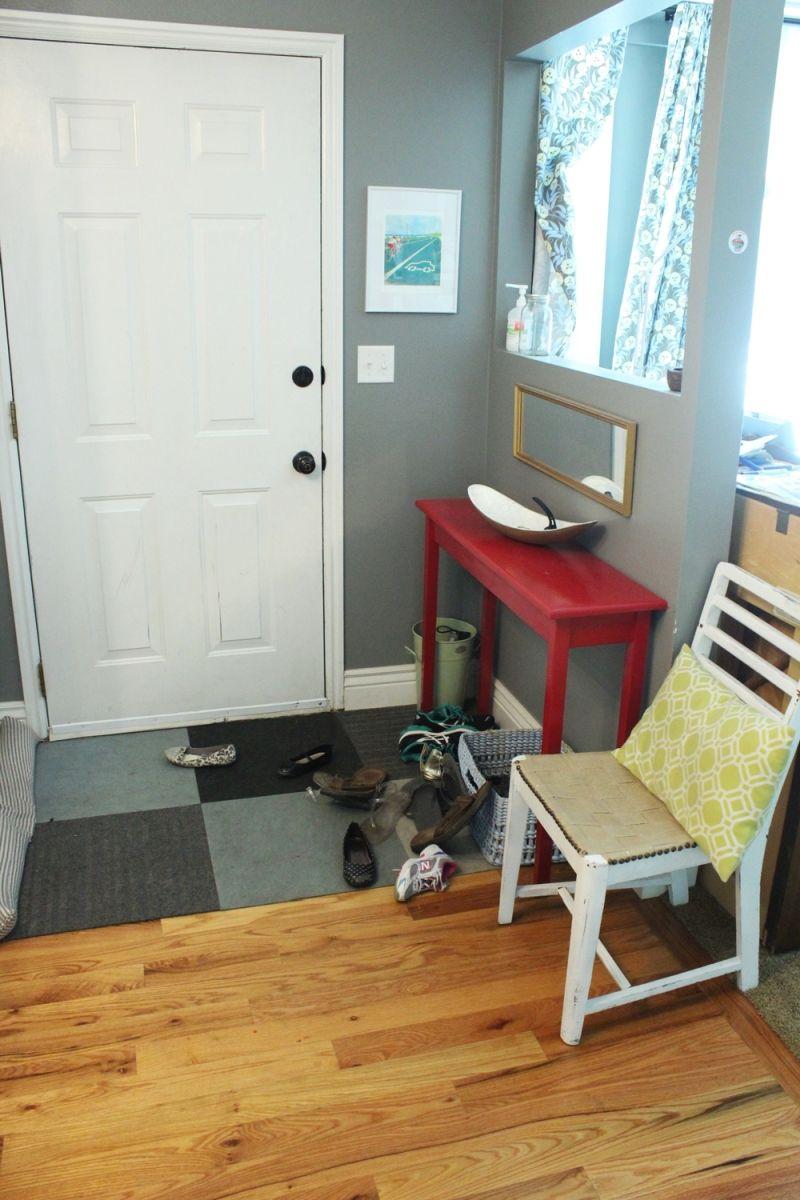 DIY Industrial Bench - before entryway