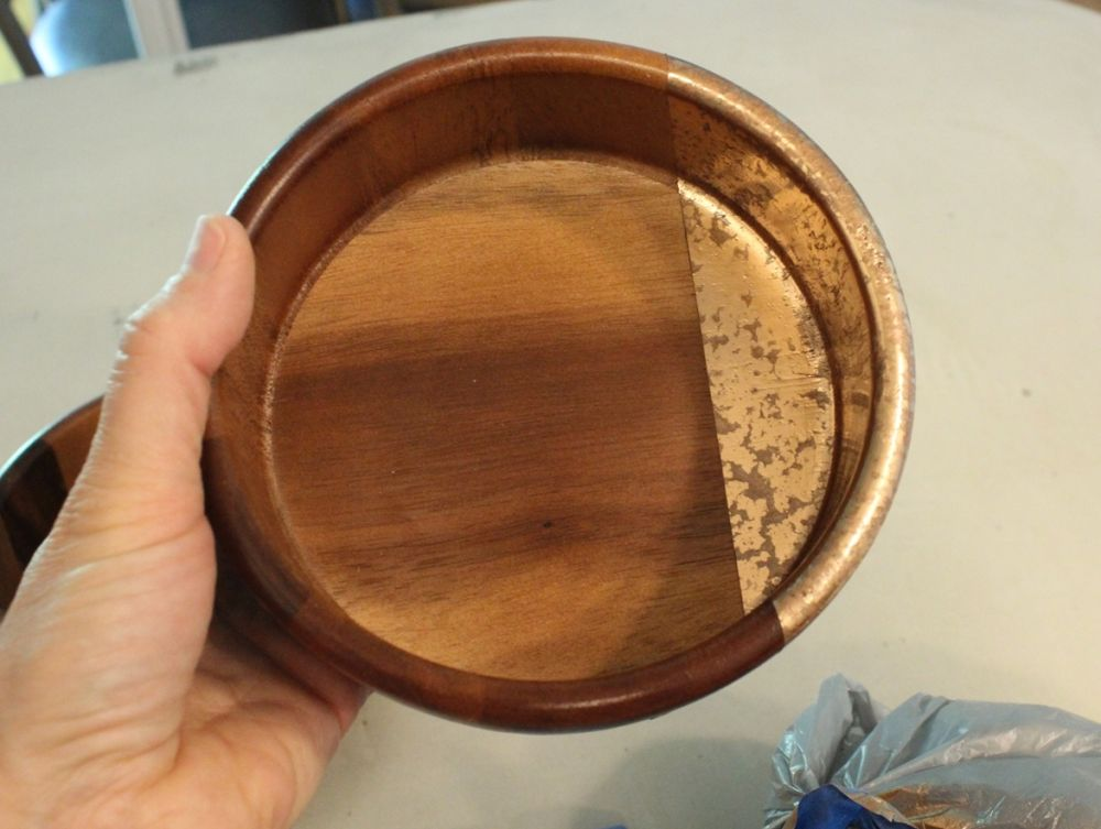 DIY Metal Wood Bowls - gold accents