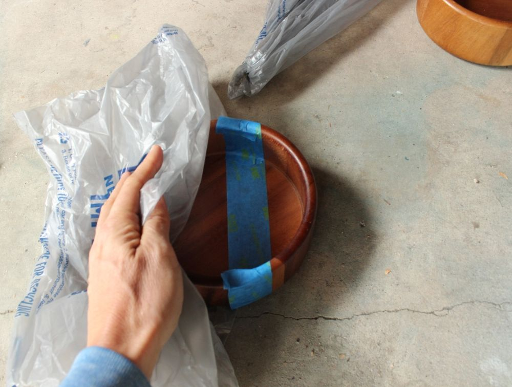 DIY Metal Wood Bowls - plastic bag
