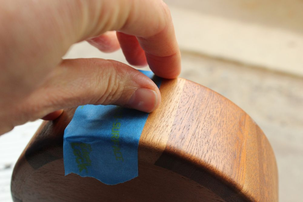 DIY Metal Wood Bowls - run finger along tape