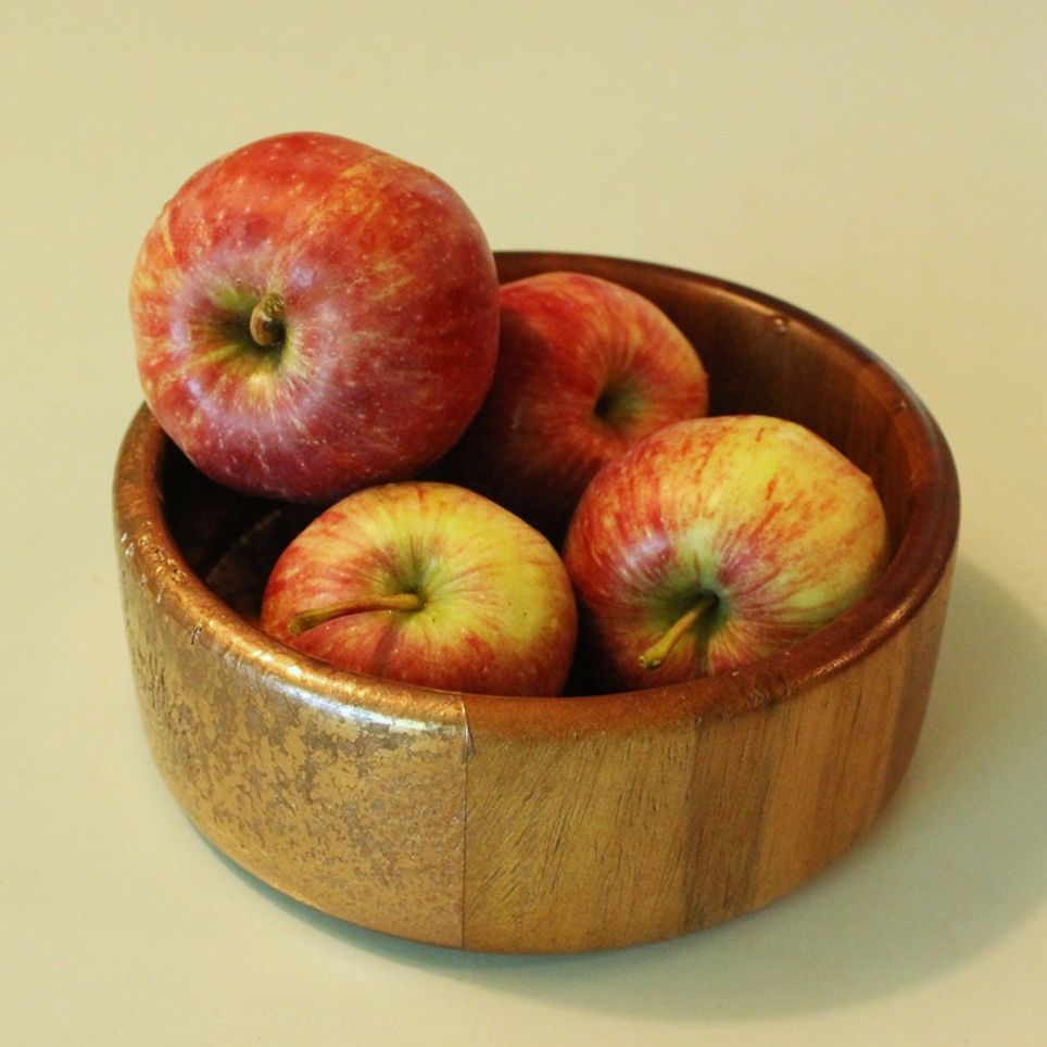 DIY Metal Wood Bowls - storage apple