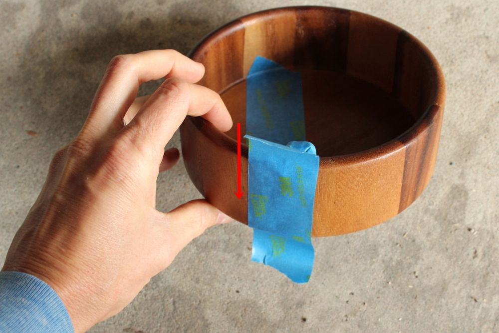 DIY Metal Wood Bowls - tape down