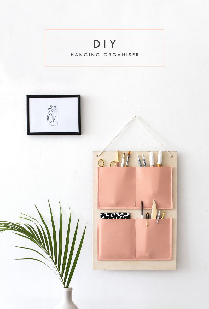 DIY wall pocket desk organizer