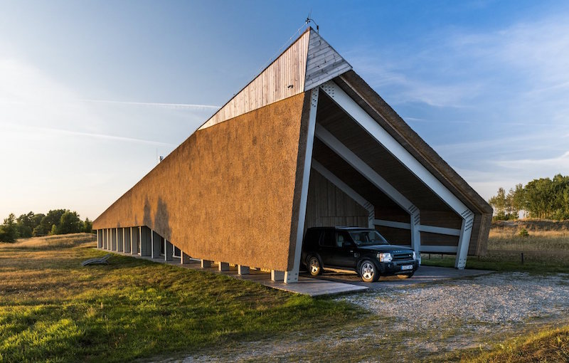 Dune House in Latvia covered garage