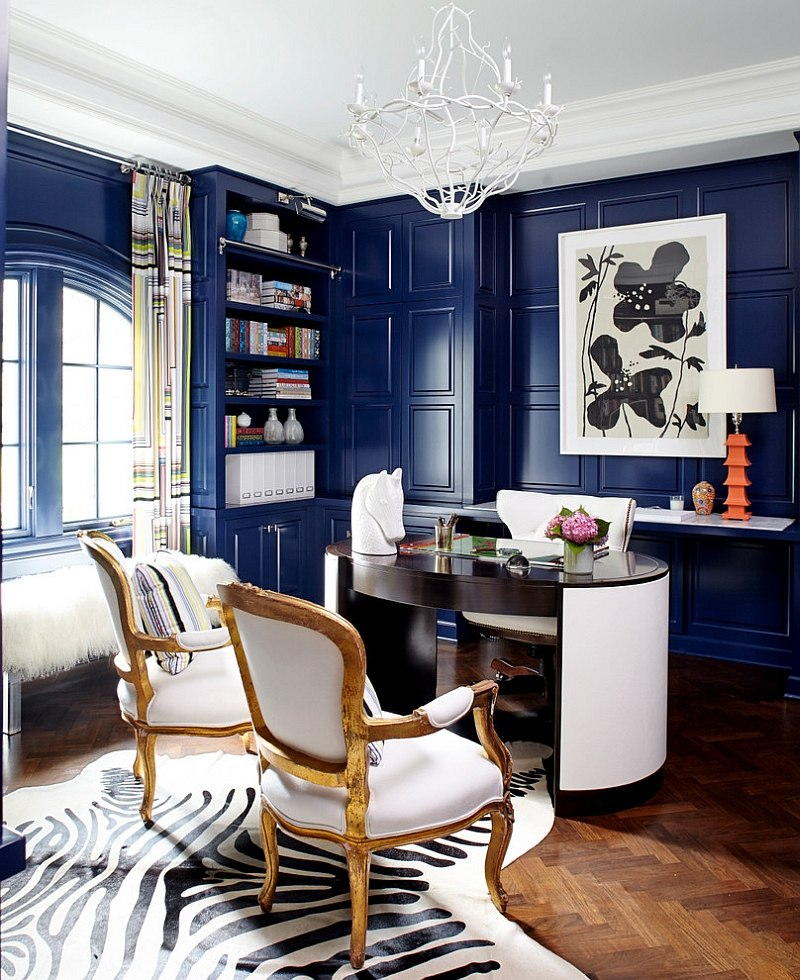 Eclectic Home Office In Blue