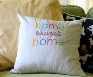 Embroidered Throw Pillow – DIY Home Sweet Home