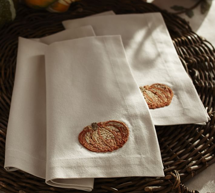 Embroidered pumpkin napkins