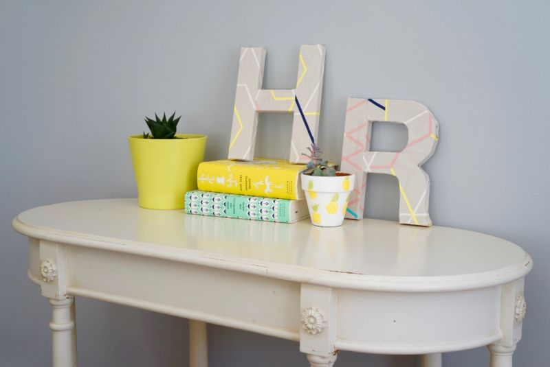 Entryway DIY Fabric Covered Letters'