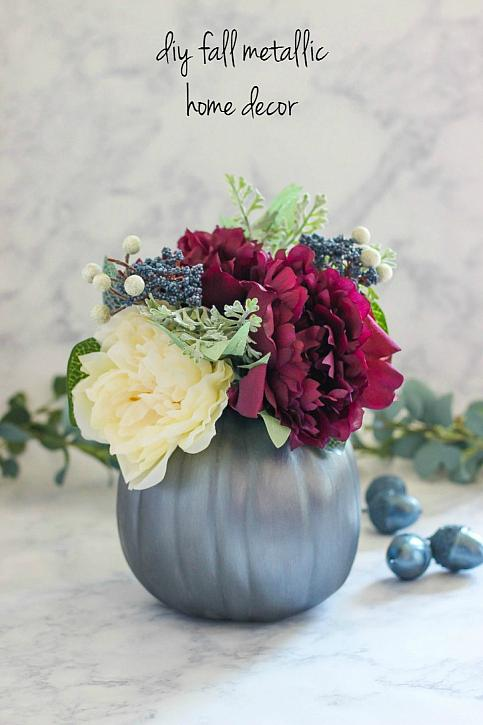 Fall metallic flower vase from pumpkin