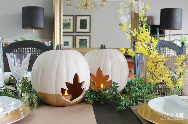 Faux Pumpkin Centerpiece - Candle