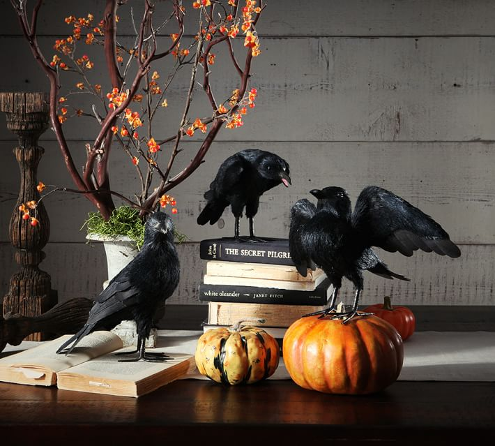 faux raven decor - Halloween Kitchen Decor