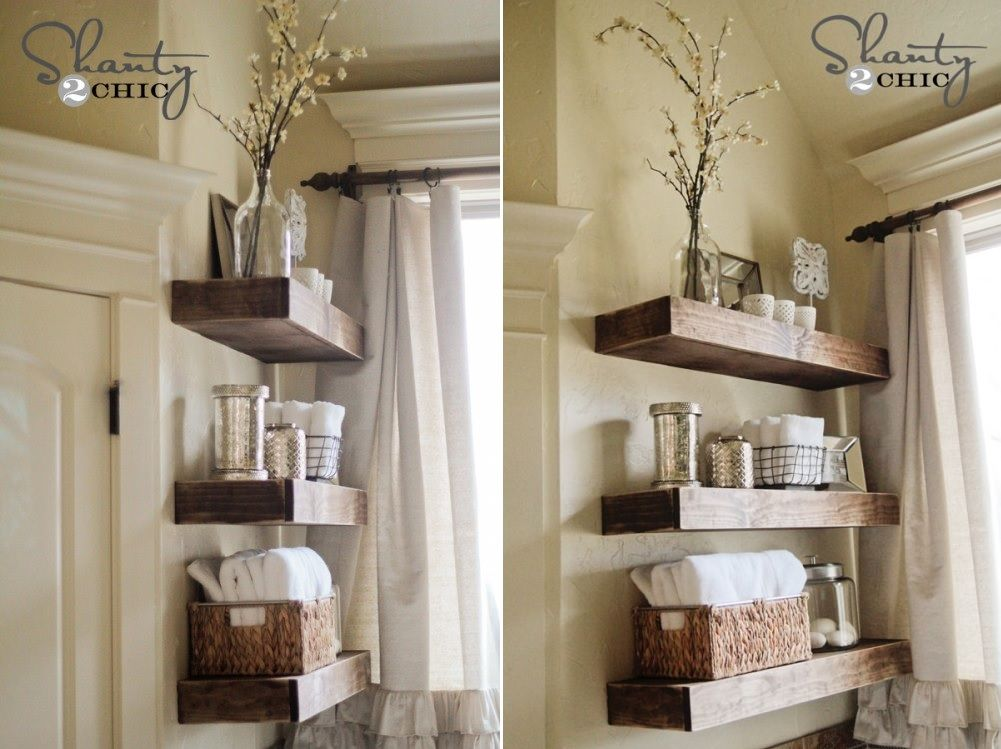 diy bathroom shelves to increase your storage space rh homedit com wooden bathroom shelves with towel bar wooden bathroom shelves ikea