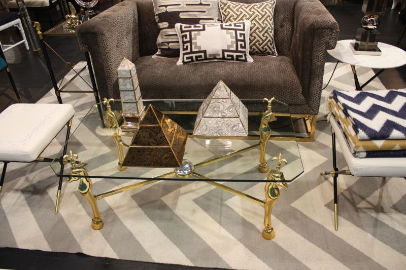 Glass coffee table with gold brass