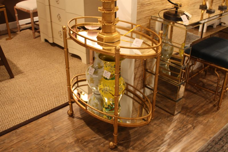 gold-and-vintage-bar-cart-with-glass-shelves