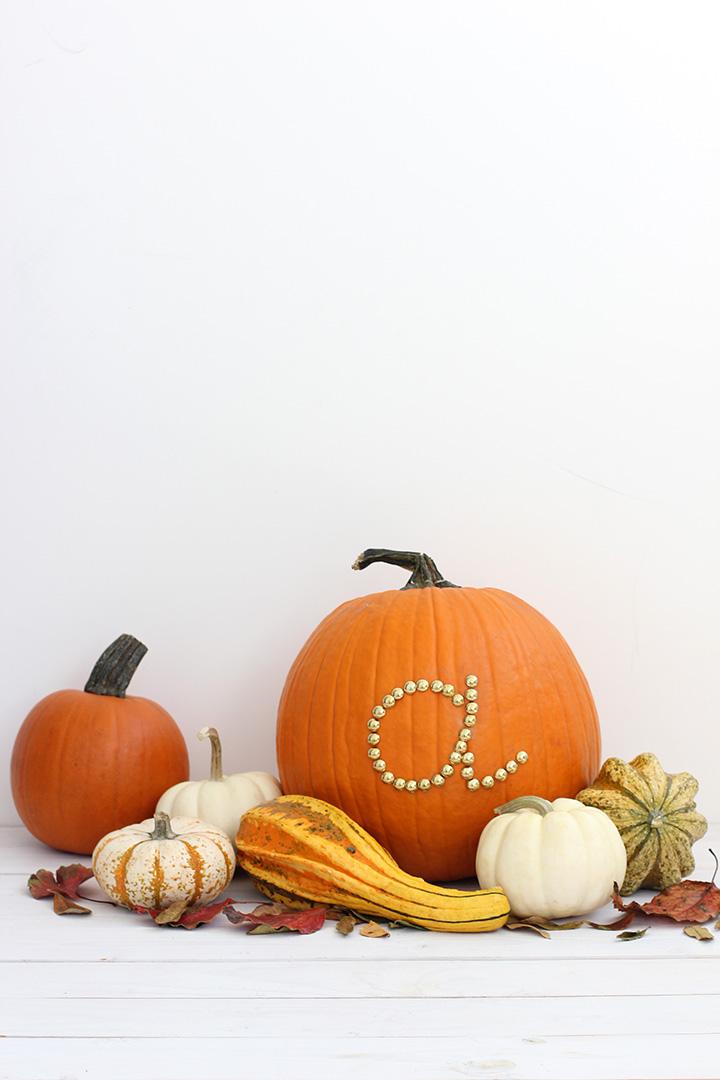 Gold initial pumpkin