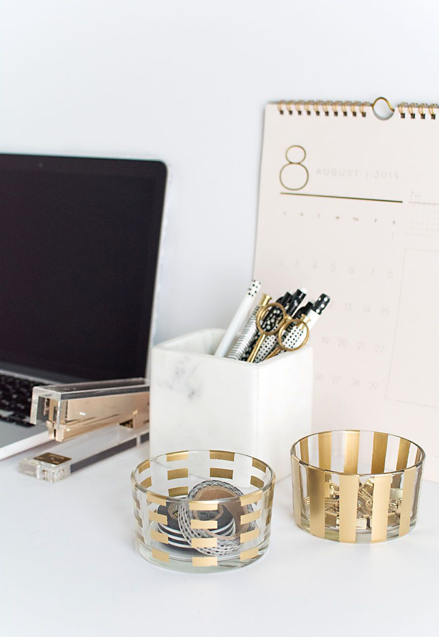 Gold pattern desk organizers