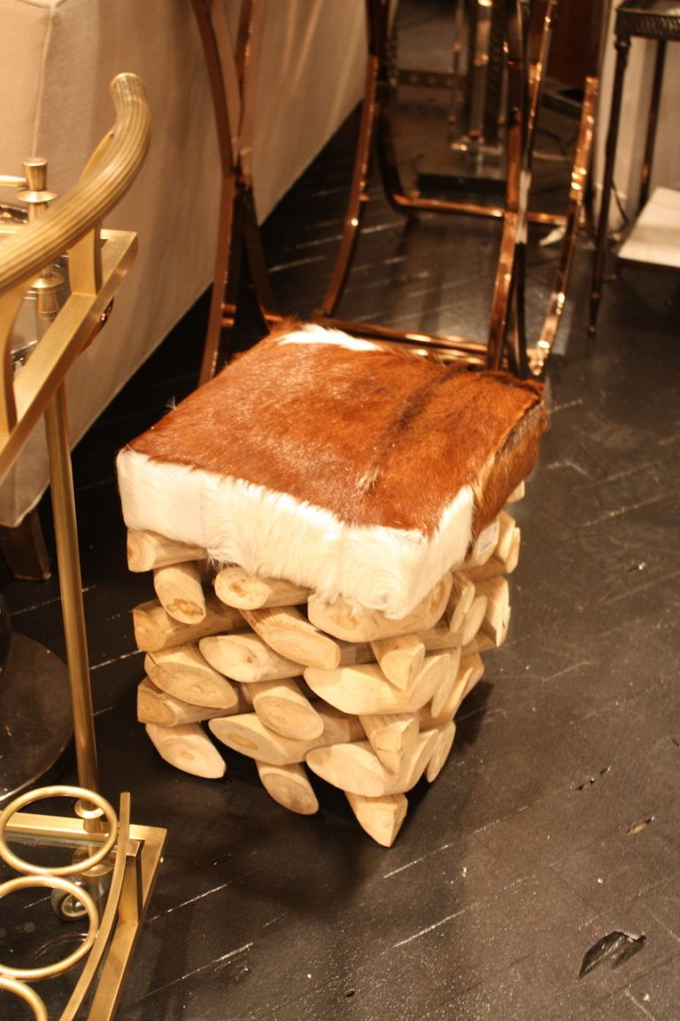 Hair hide dop driftwood stool Go Home