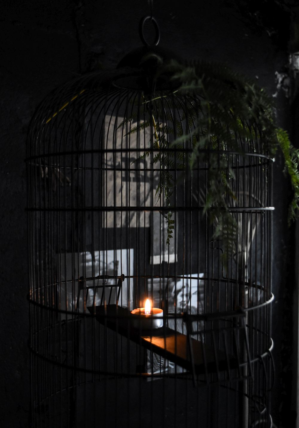 Halloween Chandelier From A Bird Cage - Wall Decor Candle