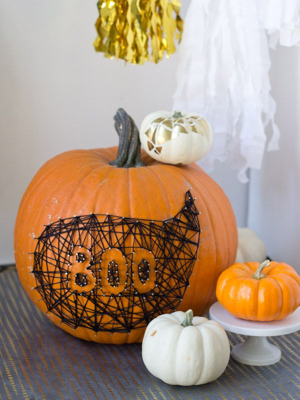 Halloween themed string art pumpkin