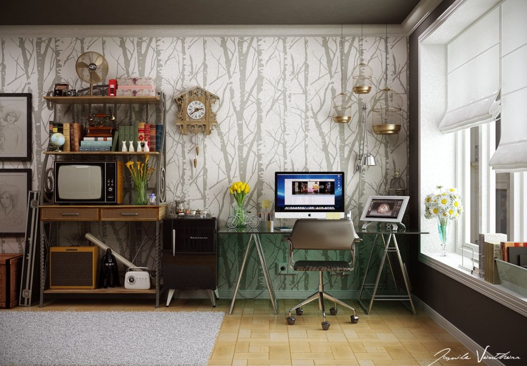Decorating Home Office With Home Office Wall Tree Pattern Office Decor Ideas To Revamp And Rejuvenate Your Workspace