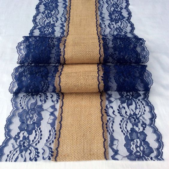 Indigo lace runner