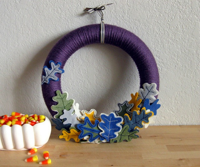Indigo leaf fall wreath