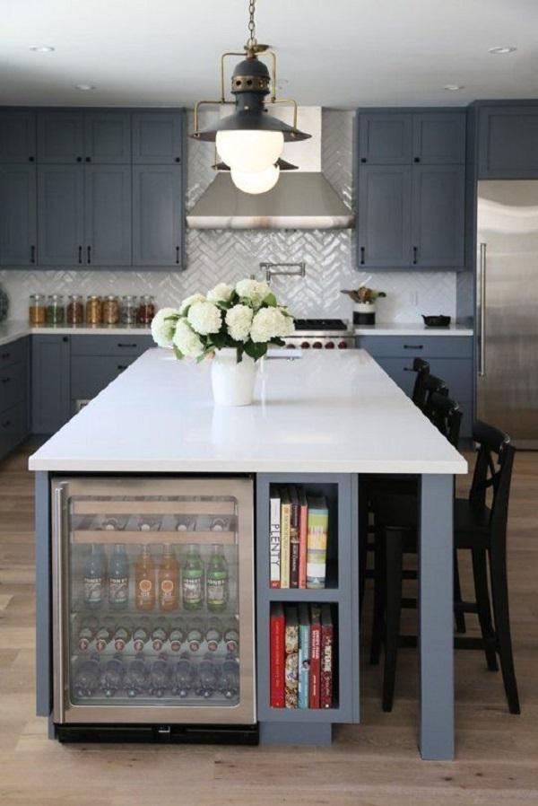 Kitchen island drink fridge