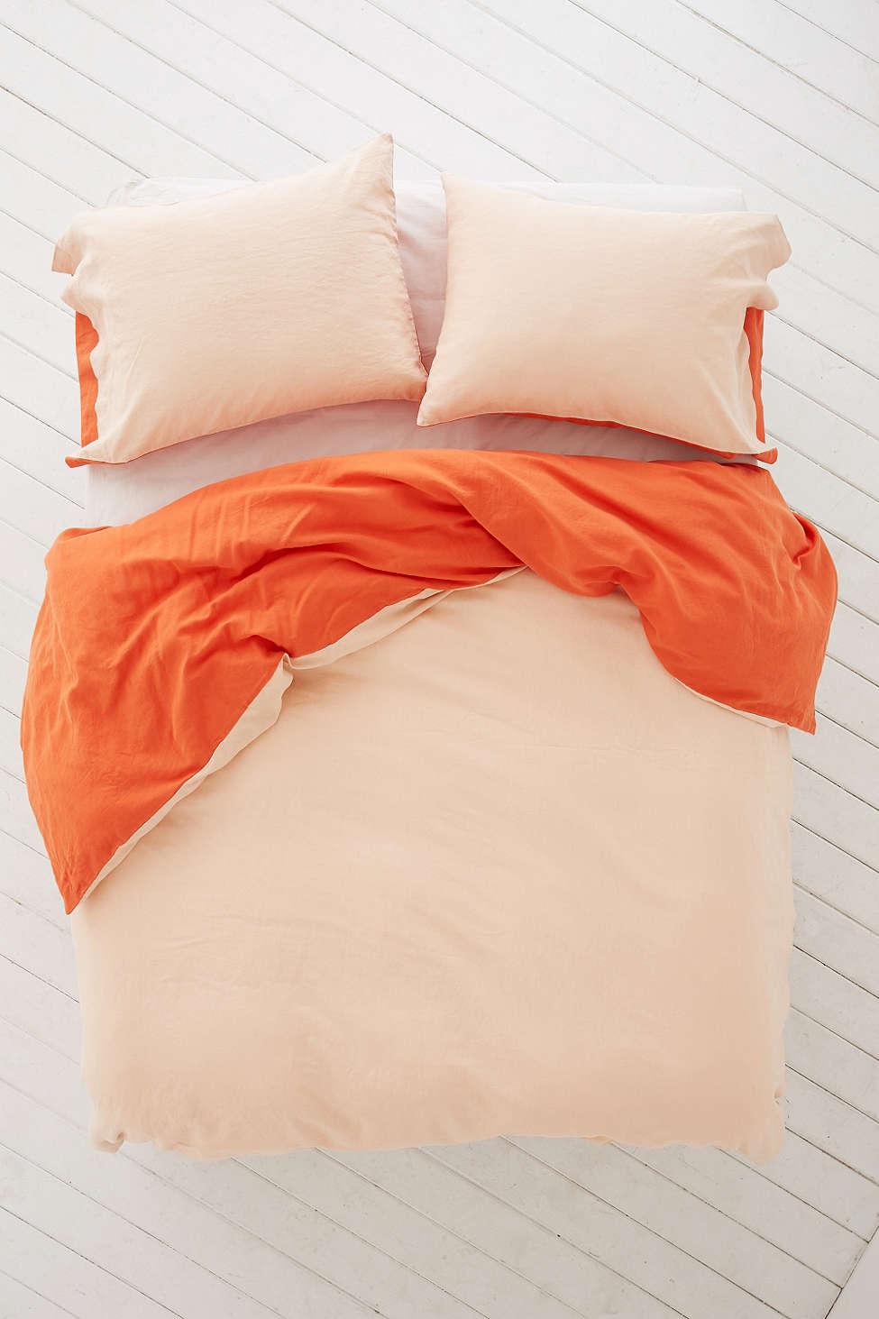 Linen orange duvet