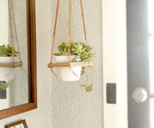 DIY Macrame Hanging Plant Shelf