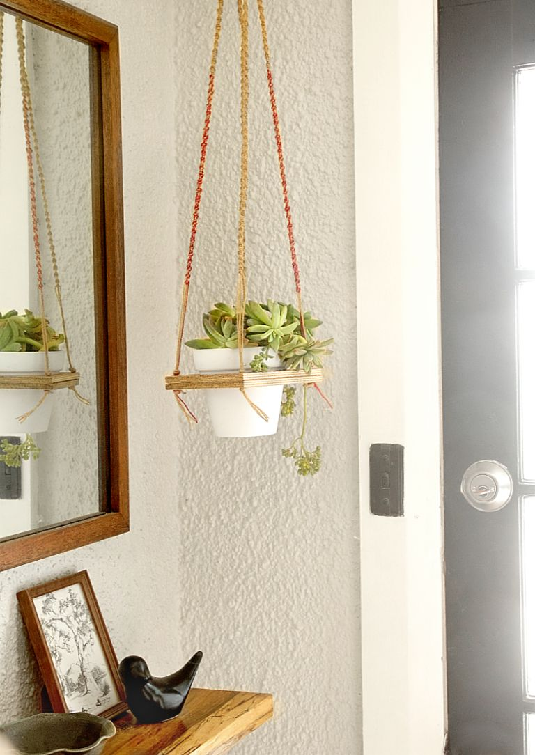 diy macrame hanging planter diy macrame hanging plant shelf 4366