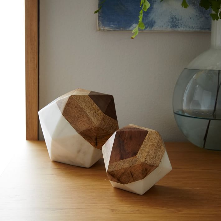 Marble wood gemetric objects