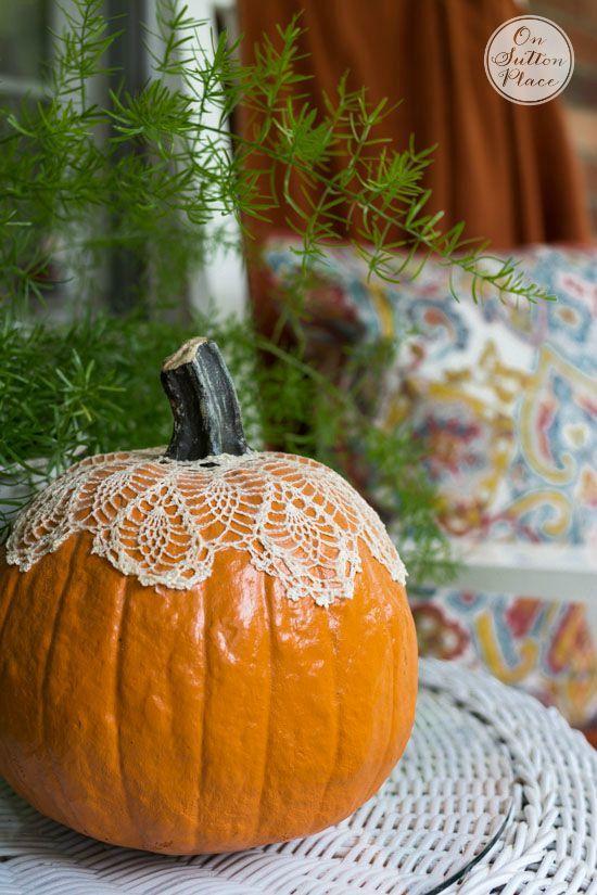 Mod podge lace pumpkin
