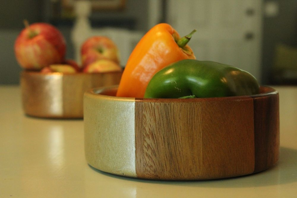 Modern DIY Metallic Accented Wooden Bowls