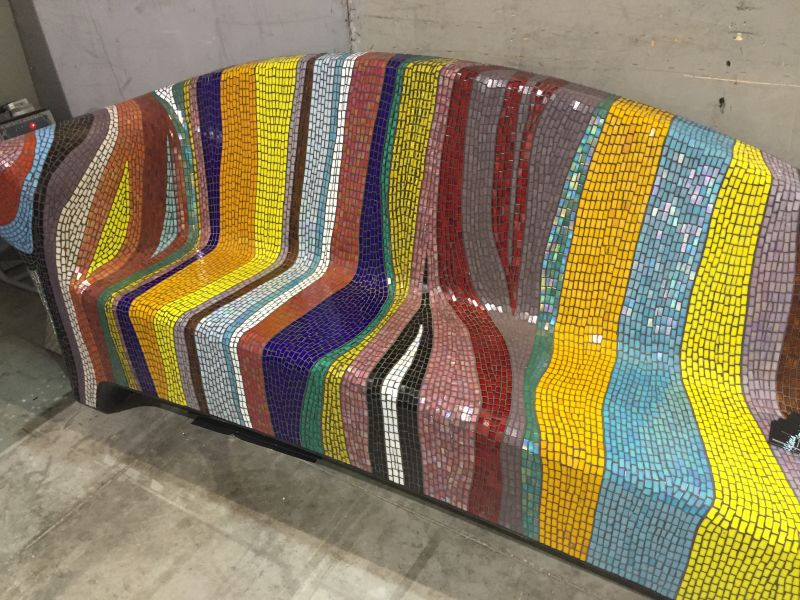 Mosaic sofa SocialSofa is a custom-made concrete outdoor bench
