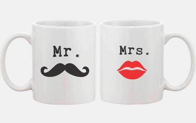 Mr Mustache and Mrs Lips Couple Mugs